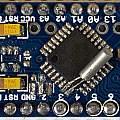 Arduino Pro Mini with added clock crystal, David Pilling